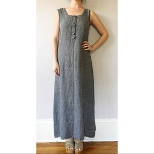Vintage 90s Linen Houndstooth Full Length Dress S